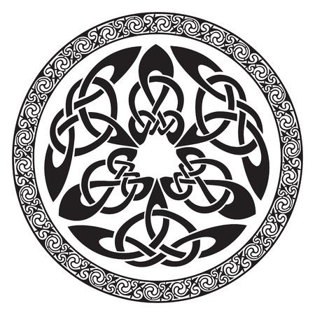 Rond Keltisch Ontwerp, geïsoleerd op wit, vectorillustratie Stock Illustratie