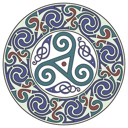 Diseño céltico redondo. Celta mandala, aislado en blanco, ilustración vectorial