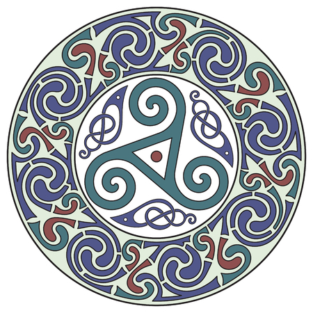Round Celtic Design. Celtic mandala, isolated on white, vector illustration