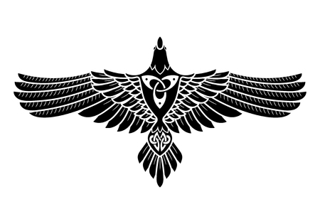 The Raven of Odin, In Norse, Celtic style, isolated on white, vector illustratin Vettoriali