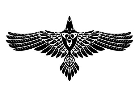 Raven of Odin, w stylu nordyckim, celtycki, samodzielnie na białym tle, wektorowe illustratin Ilustracje wektorowe