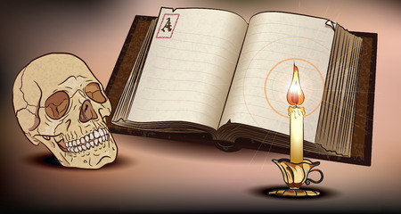The Skull, Old Book and burning Candle, vector illustration, contain gradient mash, eps-10