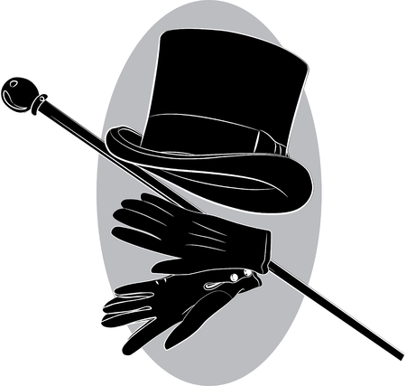 Cylinder hat, gloves and walking stick, vector illustration