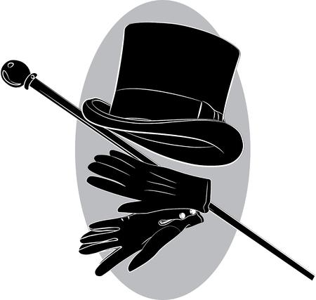 Cylinder hat, gloves and walking stick, vector illustration Illustration