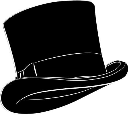 Sombrero de cilindro aislado en blanco, ilustración vectorial