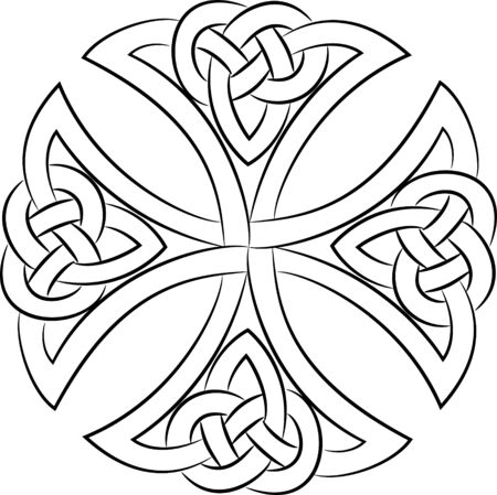 Celtic knot cross, isolated on white, vector illustration