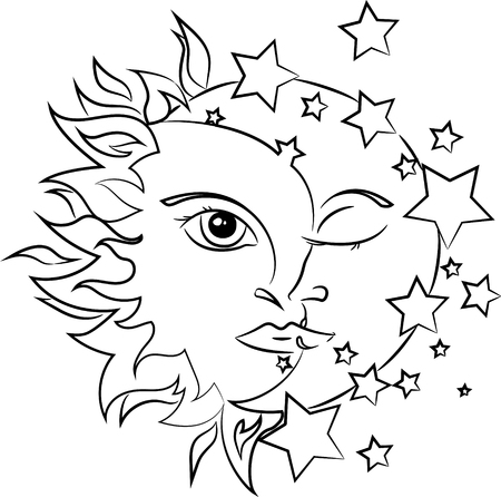 L'illustration vectorielle du Soleil et de la Lune Vecteurs