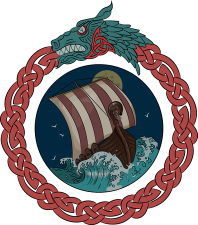 Drakkar sailing on the stormy sea in the night, in the frame of the Scandinavian wreath with a dragons head, vector illustration, eps-10