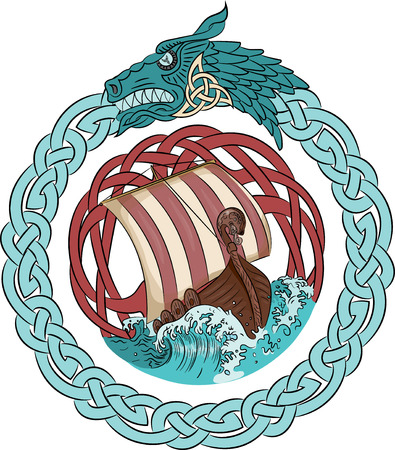 Drakkar sailing on the stormy sea in the frame of the Scandinavian wreath with a dragons head.