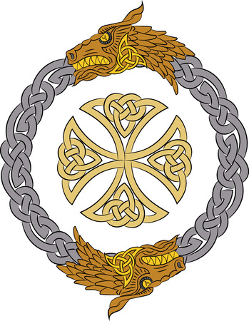 Golden celtic dragons in silver wreath with gold cross, isolated on white, vector illustration