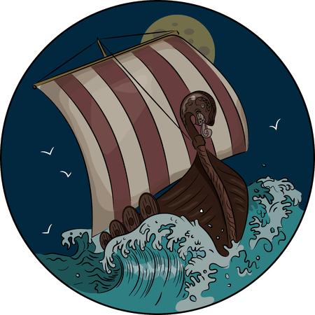 Drakkar Segeln auf dem stürmischen Meer in der Nacht, Vektor-Illustration, eps-10