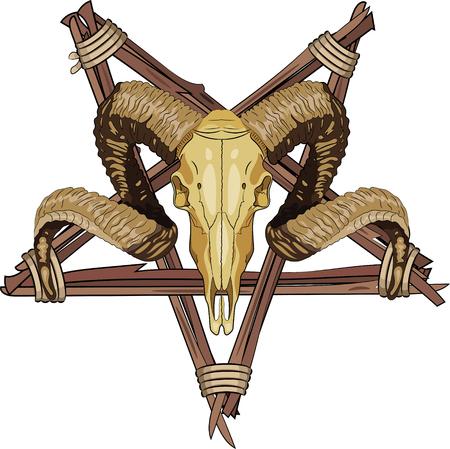 Aries bighorn skull and Inverted pentagram, vector illustration, eps-10 Illustration