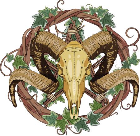 Aries bighorn skull and Inverted pentagram, vector illustration, eps-10  イラスト・ベクター素材