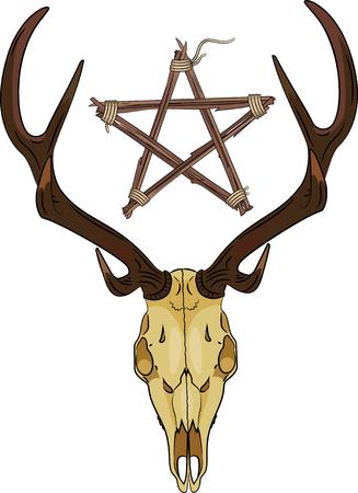 Deer skull and Pentagram made of twigs Illustration