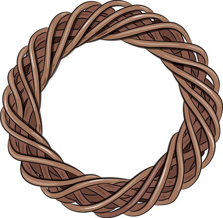 Rattan wreath entwined, isolated on white, illustration,