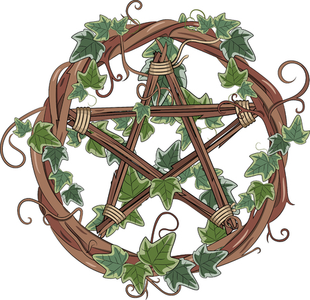Vine wreath entwined with ivy and pentagram, isolated on white, vector illustration, eps-10