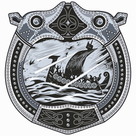 Viking design. Drakkar sailing in a stormy sea. In the frame of the Scandinavian pattern, isolated on white.
