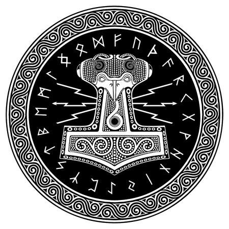 Thors hammer - Mjollnir and the Scandinavian ornament, isolated on white, vector illustration