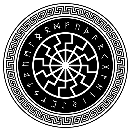 The ancient European esoteric sign - of the black sun. Scandinavian runes and ornament, isolated on white, vector illustration