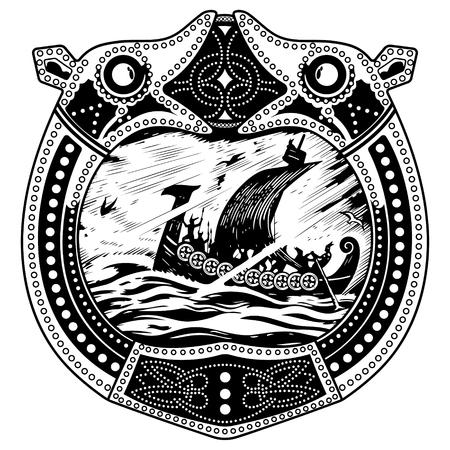 Viking ontwerp. Drakkar zeilen in een stormachtige zee. In het kader van het Scandinavische patroon