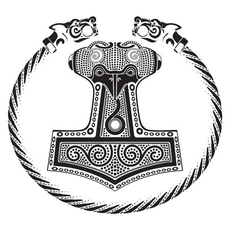 gods: Thors hammer - Mjollnir and the Scandinavian ornament, isolated on white, vector illustration