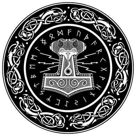 Thor의 망치 -Mjollnir 및 스 칸디 나 비아 장식품, 흰색, 벡터 일러스트 레이 션에서 절연 일러스트
