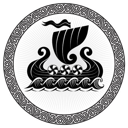 Viking Drakkar. Barco Drakkar navegando en el mar tormentoso Ilustración de vector