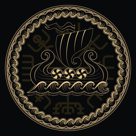 Viking Drakkar. Drakkar ship sailing on the stormy sea and Magical runic compass Vegvisir, vector illustration, isolated on black