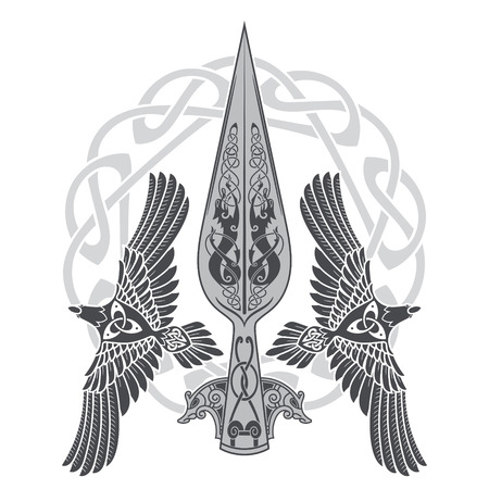 The Spear Of The God Odin - Gungnir. Two ravens and Scandinavian pattern, isolated on white, vector illustration