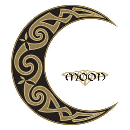 Spiral Celtic Moon, horned moon design
