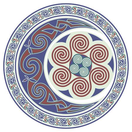 Round Celtic Design. Celtic mandala, celtic horned moon