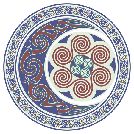 Round Celtic Design. Celtic mandala, celtic horned moon