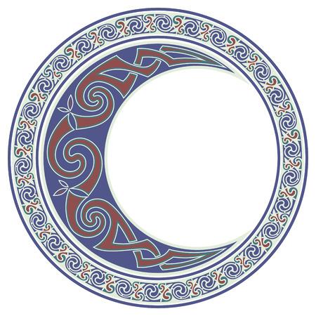 Round Celtic Design. Celtic mandala, Celtic Moon, horned moon