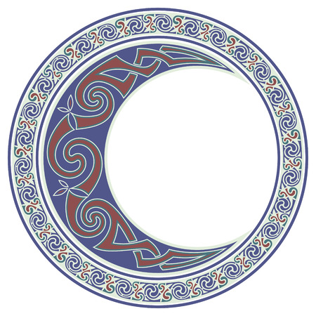 Round Celtic Design. Celtic mandala, Celtic Moon, horned moon