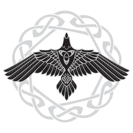 The Raven of Odin, In Norse, Celtic style Stock fotó - 86737481