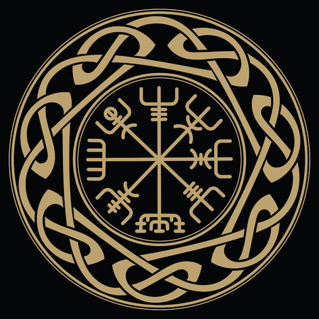 Vegvisir - Icelandic sign post or wayfinder is an Icelandic magical stave intended to help the bearer find their way through rough weather Reklamní fotografie - 86737482