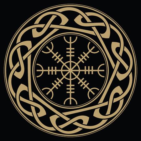 경외의 조타, 공포의 조타, 스칸디나비아 문양의 아이슬란드 어 마법의 도적, Aegishjalmur 일러스트