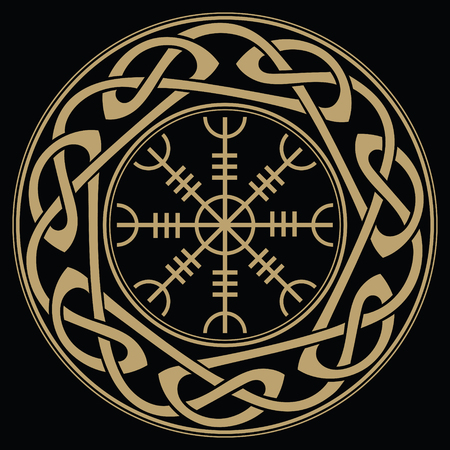 Helm of awe, helm of terror, Icelandic magical staves with scandinavian pattern, Aegishjalmur
