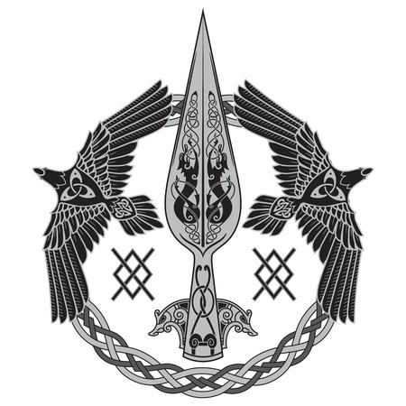 神オーディン - グングニルの槍。2 つのワタリガラスと北欧のパターン