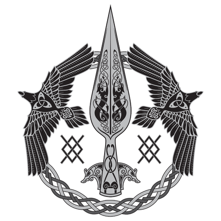 The Spear Of The God Odin - Gungnir. Two ravens and Scandinavian pattern