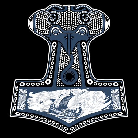 Thors hammer - Mjollnir and the Scandinavian ornament, isolated on white, vector illustration