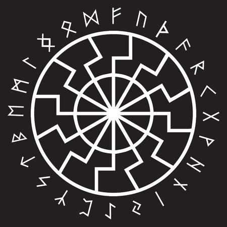 The ancient European esoteric sign - the black sun. Scandinavian runes and ornament