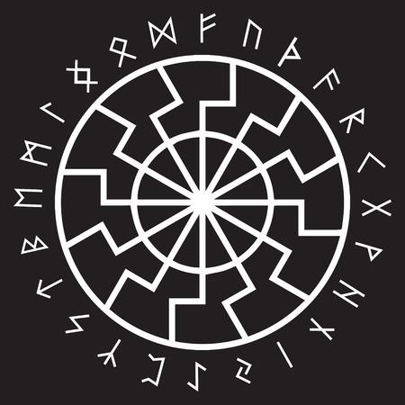 El antiguo signo esotérico europeo: el sol negro. Runas y adornos escandinavos