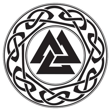 北欧織物の花輪の飾りで飾られた Walknut、神オーディンの記号  イラスト・ベクター素材