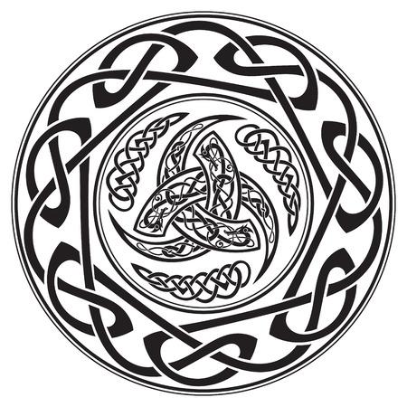 고대 유럽 패턴으로 장식 된 오딘의 트리플 뿔