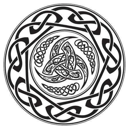Driehoekige hoornen van Odin, versierd met een oud Europees patroon