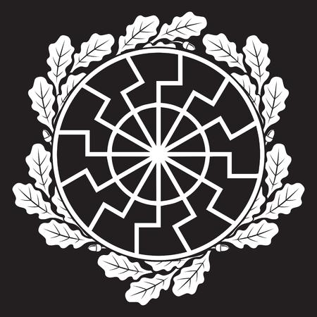 Das antike europäische esoterische Zeichen - die schwarze Sonne und Eichenblätter