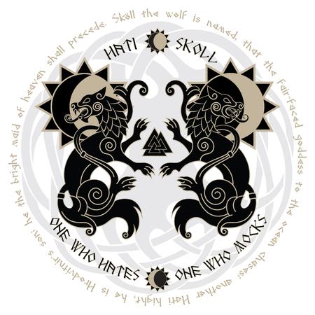 Zwei Wölfe aus der nordischen Mythologie, Hati und Skoll verschlingen die Sonne und den Mond, isoliert auf weiss, Vektor-Illustration Standard-Bild