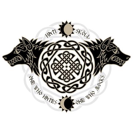 北欧神話、Hati、スコールから 2 つの狼食い入るように、太陽と月、白、ベクトル図で隔離 写真素材 - 87674194