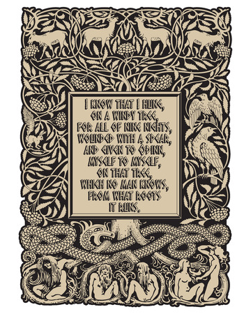 Vintage engraving. The Tree of Life in Norse mythology, animals and humans, the serpent and the sayings of the Norse God Odin, isolated on white, vector illustrtion